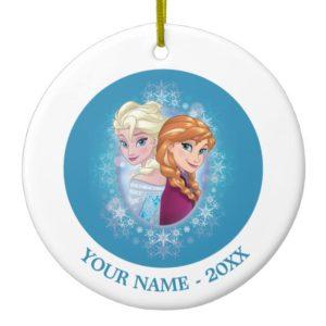Anna and Elsa   Winter Magic Add Your Name Ceramic Ornament