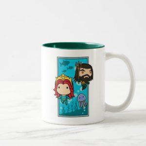 Aquaman | Chibi Mera & Aquaman Undersea Graphic Two-Tone Coffee Mug