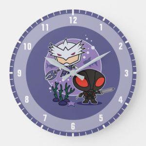 Aquaman   Chibi Orm & Black Manta Undersea Graphic Large Clock
