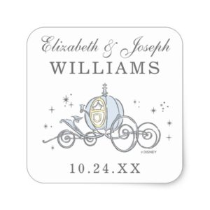 Cinderella Carriage   Fairytale Wedding Square Sticker