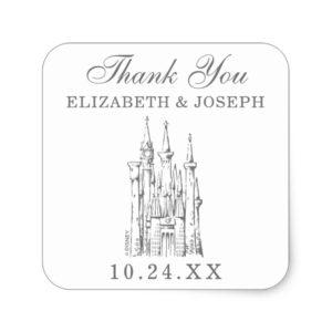 Cinderella Castle | Fairytale Wedding Thank You Square Sticker