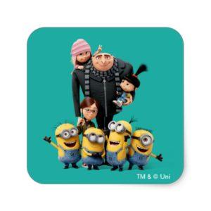 Despicable Me   Minions, Gru, Agnes, Margo & Edith Square Sticker