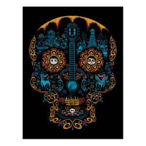 Disney Pixar Coco   Colorful Ornate Skull Guitar Postcard