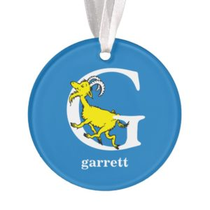 Dr. Seuss's ABC: Letter G - White | Add Your Name Ornament