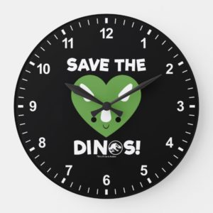Jurassic World | Save the Dinos - Green Heart Large Clock
