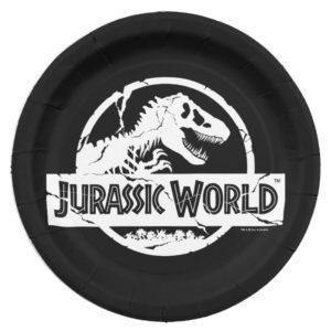 Jurassic World   White Logo Paper Plate