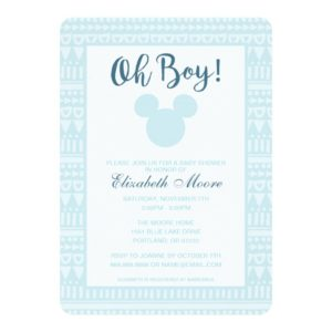 Mickey | Blue Aztec Baby Shower Invitation