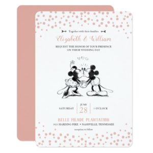 Mickey & Minnie | Pink Confetti Wedding Invitation