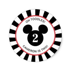 Mickey Mouse | Icon Black & White Striped Birthday Classic Round Sticker