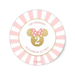 Minnie Mouse   Gold & Pink - Thank You Classic Round Sticker