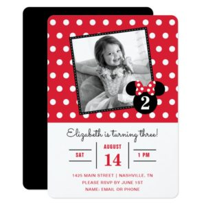 Minnie Mouse   Red & White Dots Photo Birthday Invitation