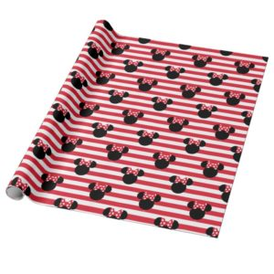 Minnie Mouse   Red & White Stripes Birthday Wrapping Paper