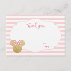 Minnie | Pink Striped Gold Glitter Thank You Note Card