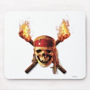 Pirates of the Caribbean Skull torches Logo Disney Mouse Pad