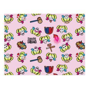 Suicide Squad   Harley Quinn Emoji Pattern Postcard