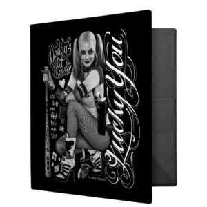 Suicide Squad   Harley Quinn Typography Photo 3 Ring Binder
