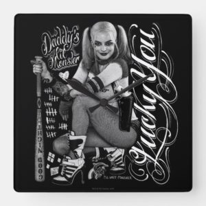 Suicide Squad | Harley Quinn Typography Photo Square Wall Clock