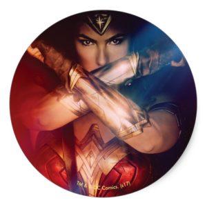 Wonder Woman Blocking With Bracelets Classic Round Sticker