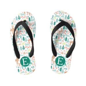 Bambi and Woodland Friends Pattern | Monogram Kid's Flip Flops