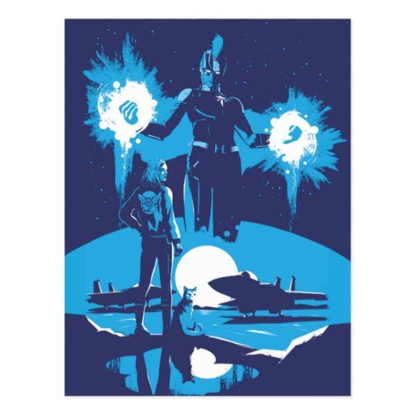 Captain Marvel | Blue Captain Marvel & Goose Scene Postcard