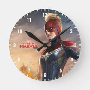 Captain Marvel | Flying With Energy Fists Round Clock