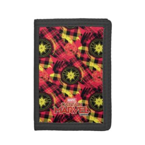 Captain Marvel | Plaid Logo Pattern Trifold Wallet