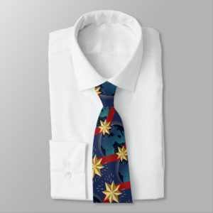 Captain Marvel | Star Logo Over Planet Pattern Neck Tie