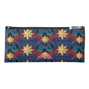 Captain Marvel | Star Logo Over Planet Pattern Pencil Case