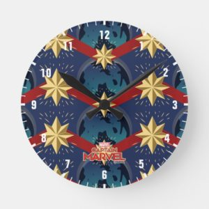 Captain Marvel | Star Logo Over Planet Pattern Round Clock