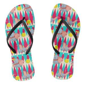 Dumbo Bright Circus Pattern Flip Flops