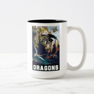 Hiccup and Dragons Flying Over Island Forest Two-Tone Coffee Mug