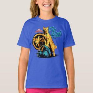"""Captain Marvel   Goose on Helmet """"Fly High"""" T-Shirt"""