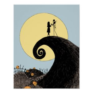 Jack and Sally | Moon Silhouette Poster