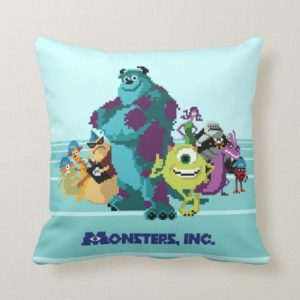 Monsters Inc 8Bit Mike, Sully, and the Gang Throw Pillow