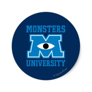 Monsters University Blue Logo Classic Round Sticker
