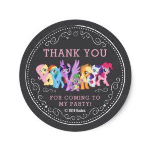 My Little Pony | Chalkboard Birthday Classic Round Sticker