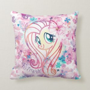 My Little Pony | Fluttershy Floral Watercolor Throw Pillow