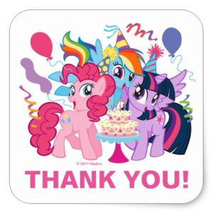 My Little Pony | Pink Birthday Thank You Square Sticker