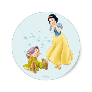 Snow White and Dopey Bubbles Classic Round Sticker
