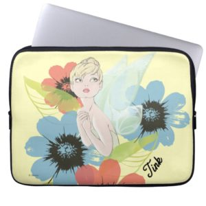Tinker Bell Sketch With Cosmos Flowers Computer Sleeve