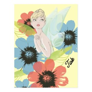 Tinker Bell Sketch With Cosmos Flowers Postcard