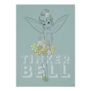 Tinker Bell Sketch With Jewel Flowers Poster