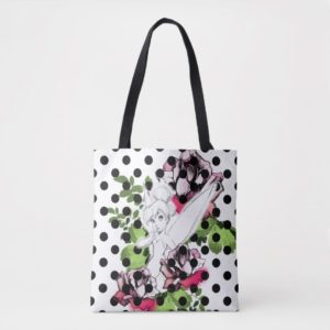 Tinker Bell Sketch With Roses and Polka Dots Tote Bag