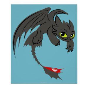 Toothless Flying Illustration Poster