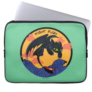 "Toothless ""Night Fury"" Flying Over Ocean Waves Computer Sleeve"