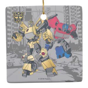 Transformers | Bumblebee & Optimus Prime In City Ceramic Ornament
