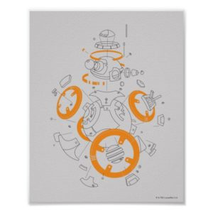 BB-8 Exploded View Drawing Poster
