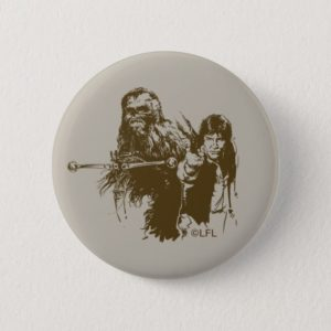 Chewie and Han Silhouette Button