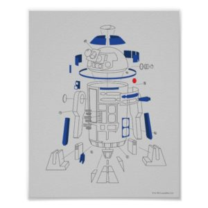 R2-D2 Exploded View Drawing Poster
