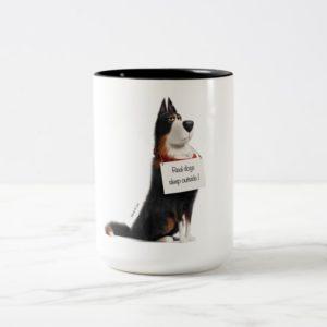 Rooster - Real Dogs Sleep Outside Two-Tone Coffee Mug